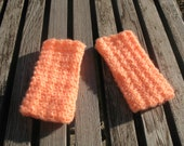 Crochet Fingerless Mittens/ Gloves Coral (made with vintage fuzzy soft acrylic yarn)