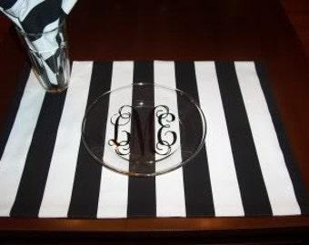 Black and White Canopy Stripe Custom Napkins