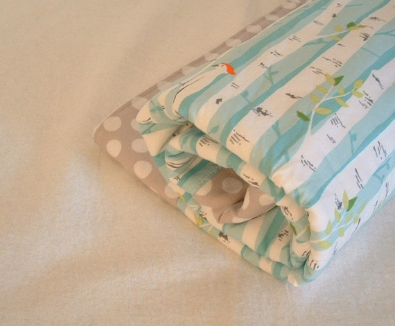 fleece baby blanket, stroller blanket, crib quilt, play mat, tummy time mat with birch trees, woodpeckers and grey dot