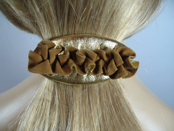 GOLD Leather Hair Barrette Hair Clip Ponytail Holder Hair Accessories Jewelry Unique Bow