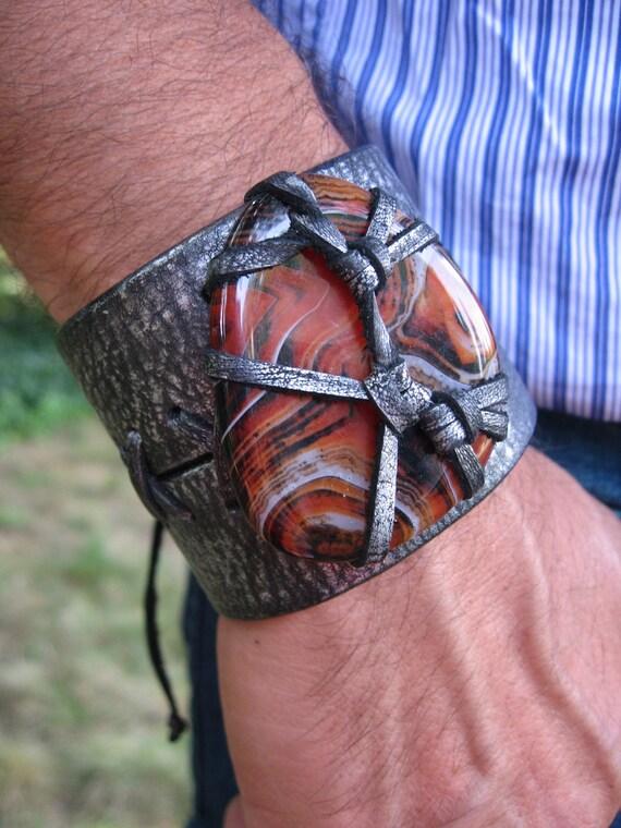Black Leather  Wristband Cuff Leather Bracelet  Agate Wrap Wrist band OOAK Men's / Ladies