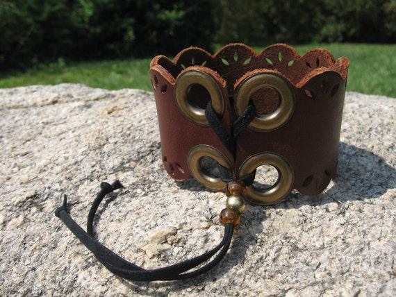 Upper Arm Bicep Cuff Bracelet, Leather lace up Corset Wrap , Upcycled Urban Jewelry
