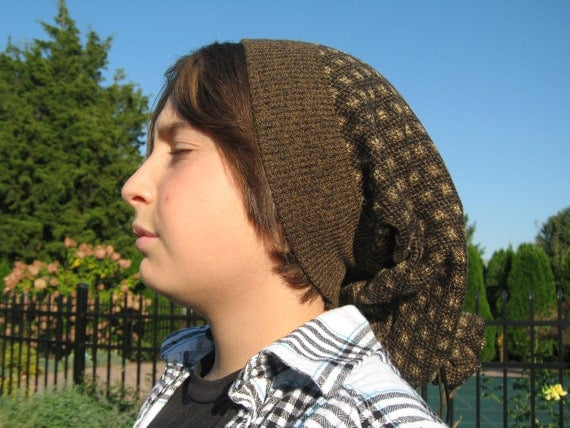 Boys Slouchy Beanie Hat Black Olive Green Teen Youth-8215