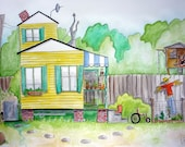 Cottage Watercolor Painting 18x24 Yellow Cottage Random Dwelling 35