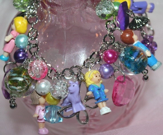Polly Pocket inspired Bracelet Adorable CHARM BRACELET Handmade Bracelet with Actual Polly Dolls Bracelet