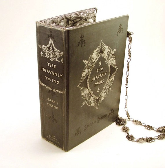 Book Clutch Purse made from Vintage Book in Gray and Silver with Chain Strap