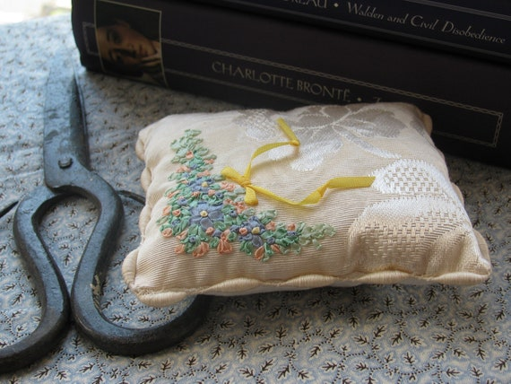 Pin Cushion, Vintage Brocade, Hand Embroidered (7015)