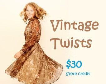 Vintage Twists 30 dollar store credit gift voucher
