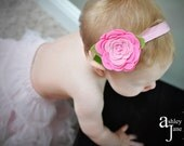 Baby Headbands Felt flower headband Wool Felt Flower Emma-Hot Pink, Cotton Candy-U Pick Hair Clip or,headband, or Brooch