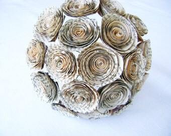 18 vintage book page spiral rolled roses wedding bouquet bridal bridesmaid toss everlasting farmhouse decor Valentines day ready to ship