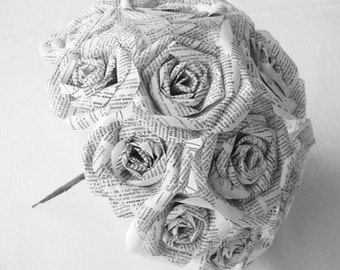 vintage very white dictionary book page paper roses wedding bouquet recycled alternative recycled steampunk