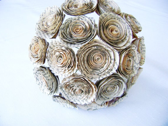 18 vintage book page spiral rolled roses wedding bouquet bridal bridesmaid toss everlasting