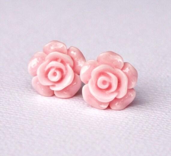 Rose Earrings. Light pink. Baby pink. Soft pastel. Petals. Blossom. Australian seller