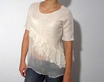 White silk wool shirt blouse airy fall fashion size small medium