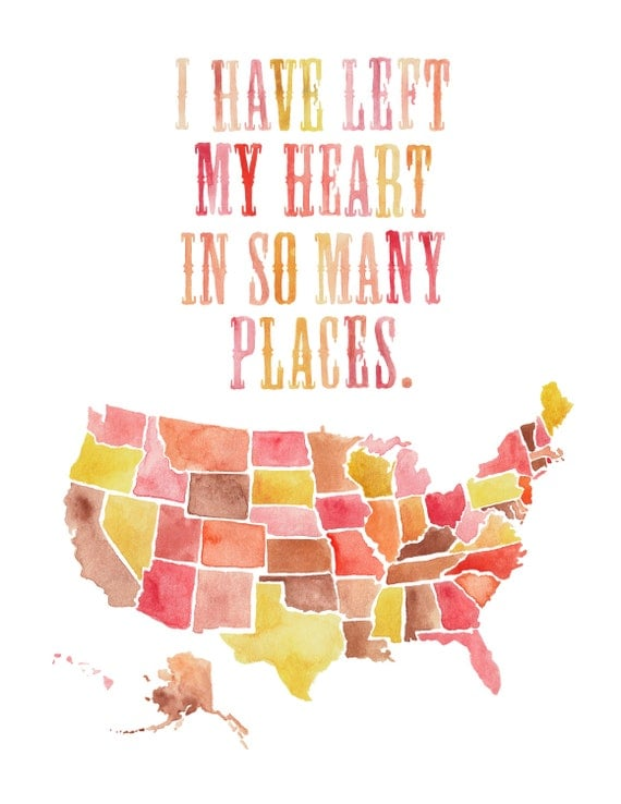 8.5x11 or 11x14 - USA Left My Heart Print