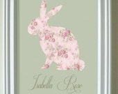 SALE- Vintage Bunny Personalized Silhouette Framed Art
