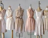 mismatched bridesmaid dresses / Dress / Bridesmaid / Romantic /  tan /lace /blush  / Fairy / Dreamy / Bridesmaid / Party / wedding / Bride