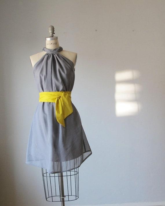 Gray dress , yellow sash , soft chiffon , healer style