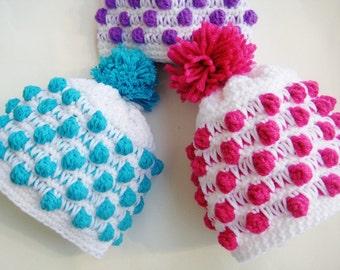 Crochet Beanie Pattern, Crochet Hat Pattern, Crochet Pattern Hat,  Newborn to Adult, Pdf Pattern, Polka Dot Beanie