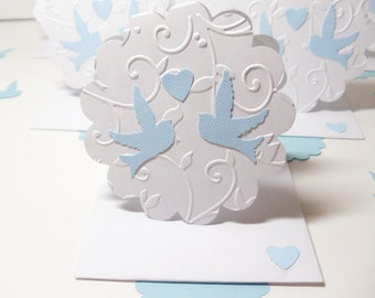 Mini Cards- Wedding- Thank You- Embossed- Doves- 6 Cards- Boxed Set- Handmade