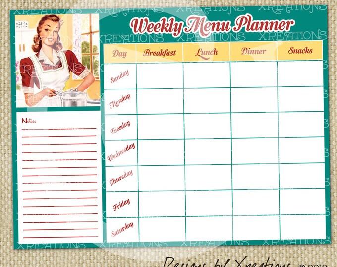 Retro Theme Weekly Menu Planner - Digital File - Printable