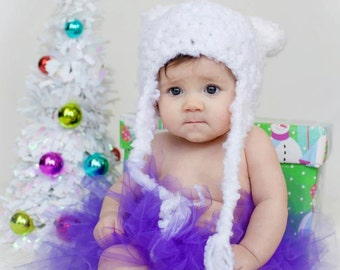White Baby Bear Hat - Baby Hat - Newborn Hat - Baby Girl Bear Hat -Ear Hat Baby Hats - by JoJosBootique