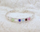 Mother's Bracelet in Sterling Silver with Swarovski Crystal Birthstones FREE SHIPPING Mother's Day Gifts Cyber Monday