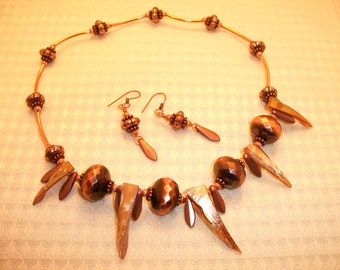 Copper Chunky Statement Necklace and Earring Set FREE SHIPPING