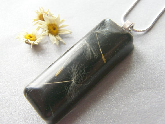 Eco Friendly Necklace, Dandelion Pendant, Nature Jewelry, Eco Necklace, Pressed Flower Jewelry, Pressed Flower Resin