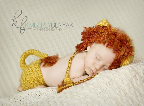 Lion King Hat and  Diaper Cover  Set  Newborn Baby 0-3 months PHOTO PROP
