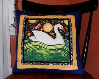 SALE, Oceanica Seafolk Pillow, Swan, Beach Pillow