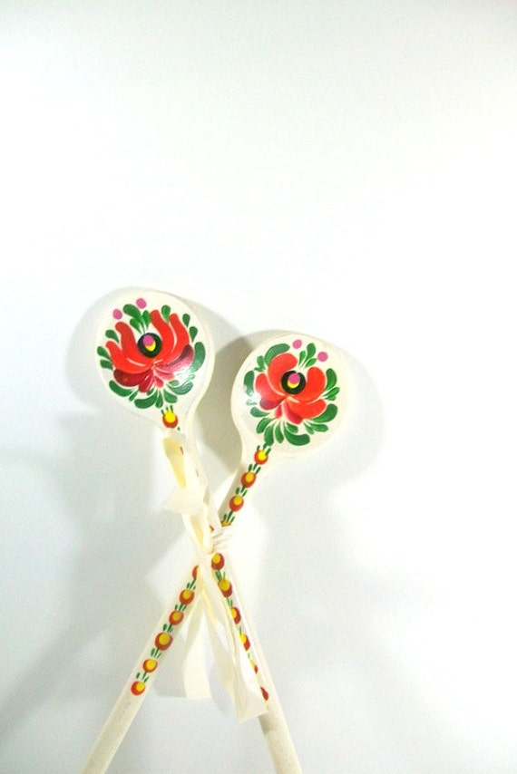 Russian Hand-Painted Long Decorative Spoons