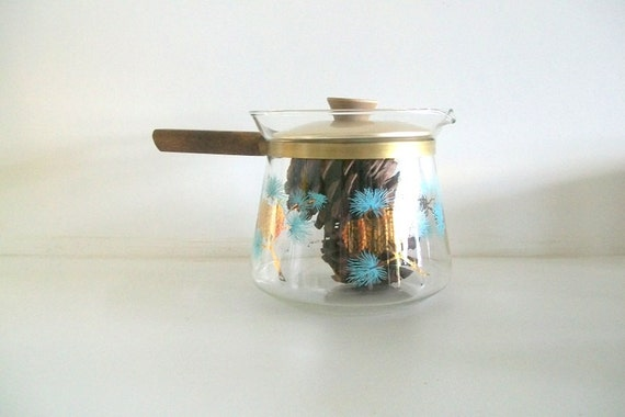 Wake Up - Retro Mid Century Douglas Flameproof Pinecone Design Coffee Pot