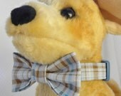 Dog Collar w Fabric Bow Tie Set Plaid Blue Brown CHOOSE SIZE Adjustable Dog Collar with D Ring