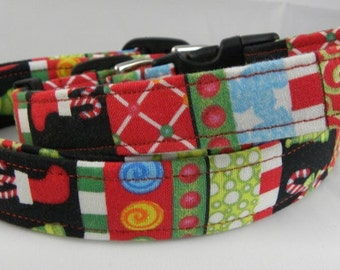 Dog Collar Classic Christmas Morning Presents Trees Stocking Candy Canes Santa Dots  Adjustable Dog Collars D Ring Choose Size  Accessory