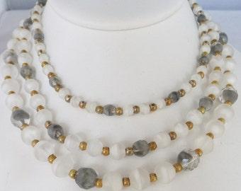 Vintage jewelry necklace 3 strand bib in grey white gold Art Glass necklace Sale half price