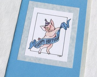 HAPPY BIRTHDAY PIG blank greeting card