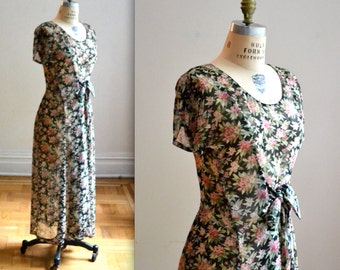 90s Vintage Floral Print Dress Size Medium// Vintage Sheer Floral Print Maxi Dress Size Medium Grunge 90s Dress