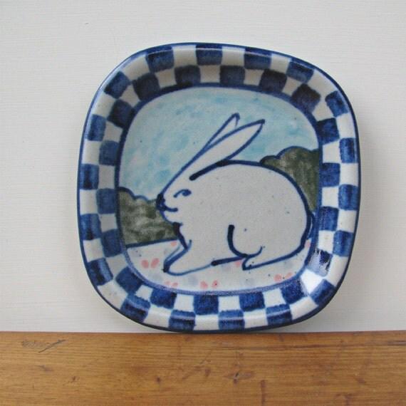 Vintage Stoneware Rabbit Dish Signed Pottery