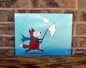 Star Fox, Whimsical Children Decor Painting, Nursery Art