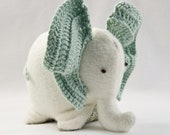 Eco-Friendly Plush Baby Toy - Elephant with Organic Ears (baby shower gift, baby gift)