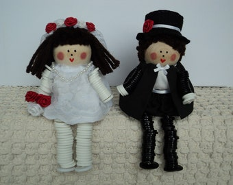 Bride and Groom Button Dolls