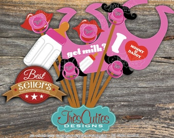 Instant PDF Download After Purchase - Baby Shower for Girl - Photo Booth Props - Print Yourself for PERSONAL Use ONLY
