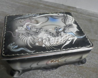 Black Dragonware Trinket Box Marked Japan