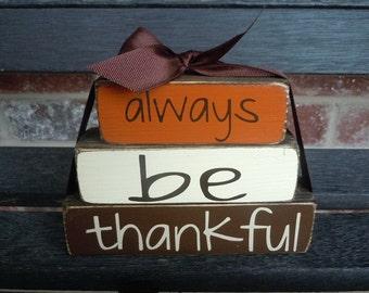 """Fall wood blocks- Always be thankful """"MINI""""stacker blocks"""