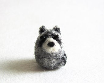 Tiny needle felted racoon