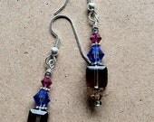 Fuchsia, Violet, Light Gold, and Chocolate Brown Swarovski Crystal Dangle Earrings