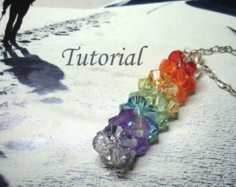 Beading Tutorial - Beaded Spectrum Bar Pendant Tutorial Crystals Colorful Bicones Pendant Easy To Follow Rainbow Colors Pendant Pattern