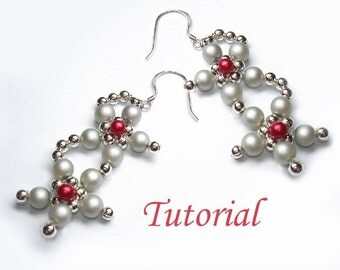 Beading Tutorial - Beaded Glory Of Winter Flowers Earrings Tutorial Pattern Pdf Downloadable Earrings Pattern Tutorial Dangle Drop Earrings