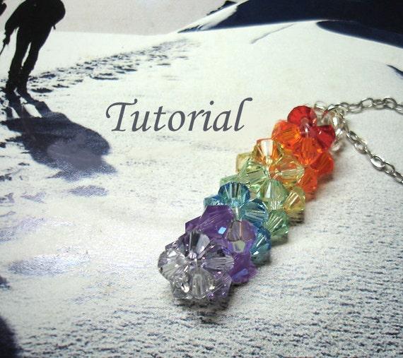 Beading Tutorial - Beaded Spectrum Bar Pendant Tutorial Crystals Colorful Bicones Pendant Easy To Follow Rainbow Colors Pendant Pattern